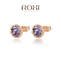 Accessories fashion purple flower xuelian roxi stud earring   2020014210-B
