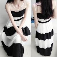 2014 summer stripe one-piece dress black and white stripe chiffon one-piece dress full dress expansion bottom one-piece dress