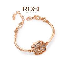 Roxi fashion jewelry austria crystal rose gold big cutout rose bracelet