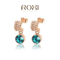 Roxi jewelry fashion earring austria crystal green crystal drop earring gold plated drop earring  2020006380