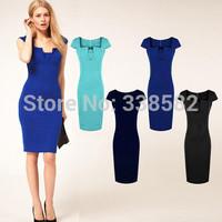 Fashion 2014 Elegant OL Business Dress Celebrity Short Sleeve Knee-length Cotton Casual Bodycon Bandage Women Sheath Dresses