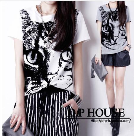 summer dress 2014 new summer Korean yards primer shirt Slim was thin short-sleeved cotton t-shirt small shirt cat woman(China (Mainland))