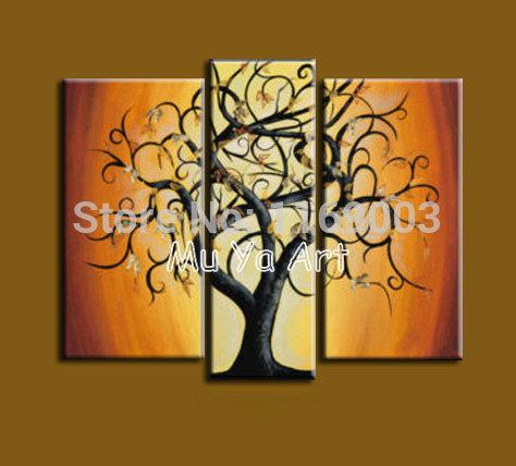3 pedaço de lona pintura a óleo abstrata moderna decoração galho de árvore Acrílico no retrato da parede da lona para decoração de sala de estar(China (Mainland))