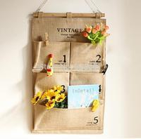 36*58cm eco-friendly Linen Pocket Multilayer hang bag Vintage Wall Bag Wall Bedside Storage Bag,Hang Bins Letters organizer