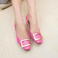fashion sexy patent leather with coarse low heels buckle in candy-colored pumps with shallow mouth OL women shoes tx122