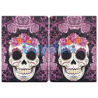 Purple Flower Floral Skull Flip Leather Cover Case For Apple iPad 4 4G 3 3G 2