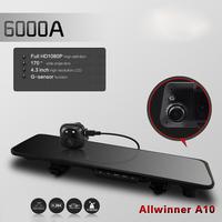 "6000A Car Rearview Mirror Car Camera DVR Recorder Full HD 1080P Car DVRs Dual Lens 4.3"" TFT LCD G-sensor 170 Degree Angle"