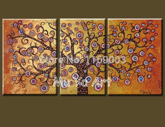 Pintura a óleo abstrata moderna da lona 3 parte da mão vida ramo árvore decorativa no retrato da parede da lona para decoração de sala de estar(China (Mainland))