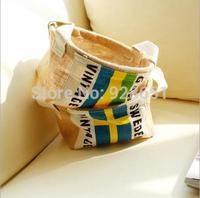 novelty households eco-friendly Linen vintage Storage Bag Bin Socks Toys Zakka Desk cosmetics organizer  decorative boxes