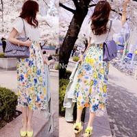 O-neck short-sleeve lace patchwork slim waist loose expansion bottom fancy one-piece dress