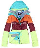 2014 womens ski jacket color matching snowboarding jacket ladies waterproof breathable purple green snow parka skiwear anorak