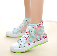 New 2014 fashion women's shoes Summer new shoes breathable canvas high-top floral openwork lace casual student Sandals