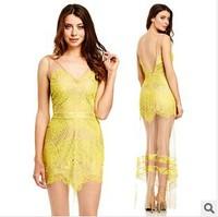 Three Floor Dress 2014 Slit  Hem Three Floor Dress Long Sexy Mesh Perspective Deep V-neck Lace  Beach Women Eyelash Dress MX117