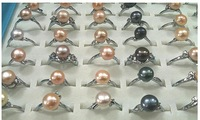[ Life Art ]  100pcs /lot 100% real pearl finger rings jewlery lady wear original from Freshwater shells pearl wholesale