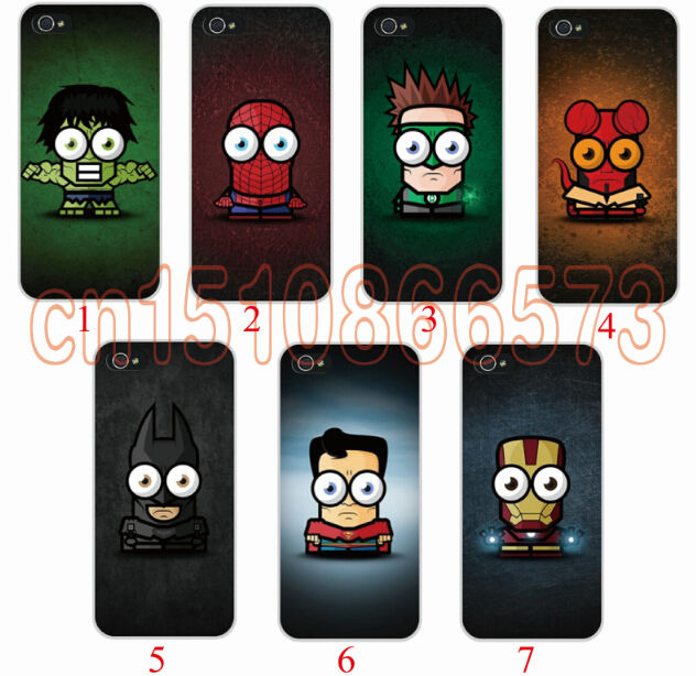 For iphone5c cases Transparent/Black Cartoon Superhero the logo cell phone cases covers to i phone 5c 7pcs/Lot free shipping(China (Mainland))