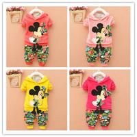 4set/lot wholesale minnie 2pcs/set long sleeve sweatshirt pants kids clothes ,spring autumn gril's clothes, cartoon sets