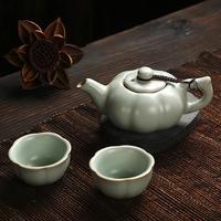 Ru kiln tea set, a pot of two cup, plum cup, kung fu tea set, ceramic, office, travel, simple teapot, on sale!