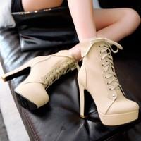 2014 thick heel ultra high heels boots female high-heeled fashion lacing martin boots platform boots