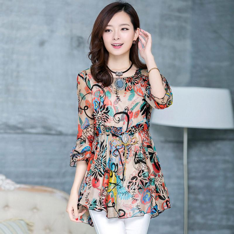 С длинными рукавами шифона рубашку женщина 2014 Hitz женщин корейской женск