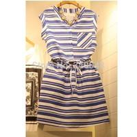 2014 summer women's fashion one-piece tunic dress ladies' short sleeve elegant string lacing stripe cotton dress with pockets