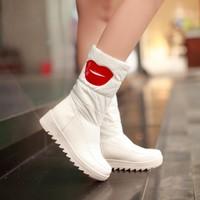 2014 winter down snow boots female platform flat heel round toe medium-leg Women boots winter boots fur boots