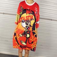 Free shipping!2014 women's fashion leopard  super letter print short-sleeve T-shirt  loose plus size