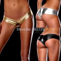 5 color Black Gloden Sliver Women Girl Hot Sexy Metallic Micro Shorts Panty Club Wear Thong Thongs Erotic Underwear Lingerie X6