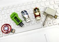 AU64 Gold Silver 4GB 8GB 16GB 32GB The Avengers Hulk Iron Man USB 2.0 flash drive memory Stick pendrive card pendrives pen