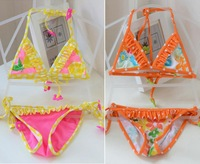 8A20051 Limited Promotion Girl Bikini Swimwear,Orange or Green Swimsuit For Girls Children Two Pieces baby swimwear kids girl