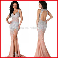 Custom Made Sweetheart Beading Rhinestones High Slit Chiffon Open Back Long Dress Mermaid Prom Dress 2014