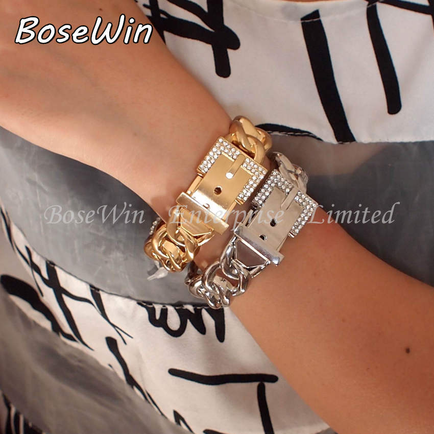 2014 New Fashion Women Belt Design Bracelets Accessories Gold / Silver Alloy Rhinestones Cuff Bangles Statement Jewelry BL204(China (Mainland))