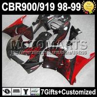 7gifts For HONDA CBR919RR 98-99 CBR900 CBR919 RR Red flames 98 99 K6669 CBR900RR CBR 919RR 919 RR 1998 1999 Fairing Red black+