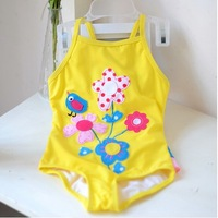 8A10008 direct selling mutil handwork yellow color with a flower logo design,one piece swimming baby swimsuit  baby