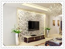 Non-woven stereoscopic flocking idyllic cozy living room bedroom wallpaper 7703(China (Mainland))