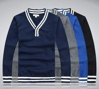 New winter fashion men's sweater white edge youth 100% cotton V-neck sweater men sweater
