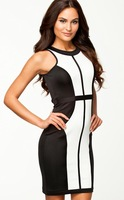 2014 Summer OL Casual Dresses Lady New Fashion Black and White Patchwork Dress Celebrity Sleeveless 9100