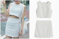 Women White in Black Dot Print Sleeveless Crop Top And High Waist Pencil Skirt Women 2 Piece Clothing Sets Suits Summer 2015
