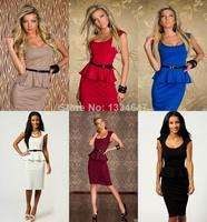 6 Colors 2014 New Summer Dress Women Knee Length Peplum Bodycon OL Casual Career Dress Women Work Wear 9052