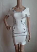 Hot!! Free Shipping /2013 new fashion White, black, short-sleeved round neck beaded bendage evening dressParty prom Dresses