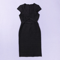 Hot!2014 New style fashion Black V-neck short sleeve bandage evening dress prom party sexy dress