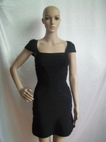 Hot!2014 New style fashion Black square collar short sleeves bandage evening dress prom party sexy dress