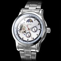 Hot ! Fashion Silver Skeleton Men Steel Self-Wind Watch Men Luxury Slava Brand  CJIABA Automatic Mechanical Wristwatch