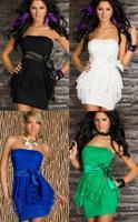 New Fashion Women Strapless White Lace Bridesmaid Dress Sexy Clubwear Party Mini Dress with Belts N111 Plus Size