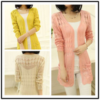 Free Shipping 2014 New Arrival Lady's Middle-Long Hollow-out Sweater Cardigan, Free Size 6 colors L14001