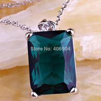 New 2014 Jewelry Wholesale Fashion 925 Silver Emerald Cut Green Topaz 925 Silver Free Chain Necklace Pendant