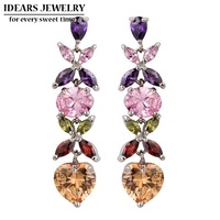 IDEARS Free shipping.18K Gold Plated Star Drop Earrings flower with Multicolor Zircon For Women Luxury ID00076