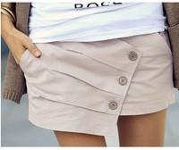 Wholesale 2014 Women Summer Casual Pleated Shorts Hot Button Up Skorts Beach Skirt shorts Plus size XS-XXXL Freeshipping