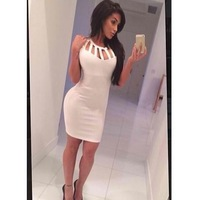 Hot Sale Sexy Women Solid Pencil Dress O-Neck  Hollow Out Sheath Sleeveless Blouse Skirt Clothining Fashion