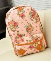 Korean preppy style schoolbag canvas vintage floral backpack wholesale  leisure bag
