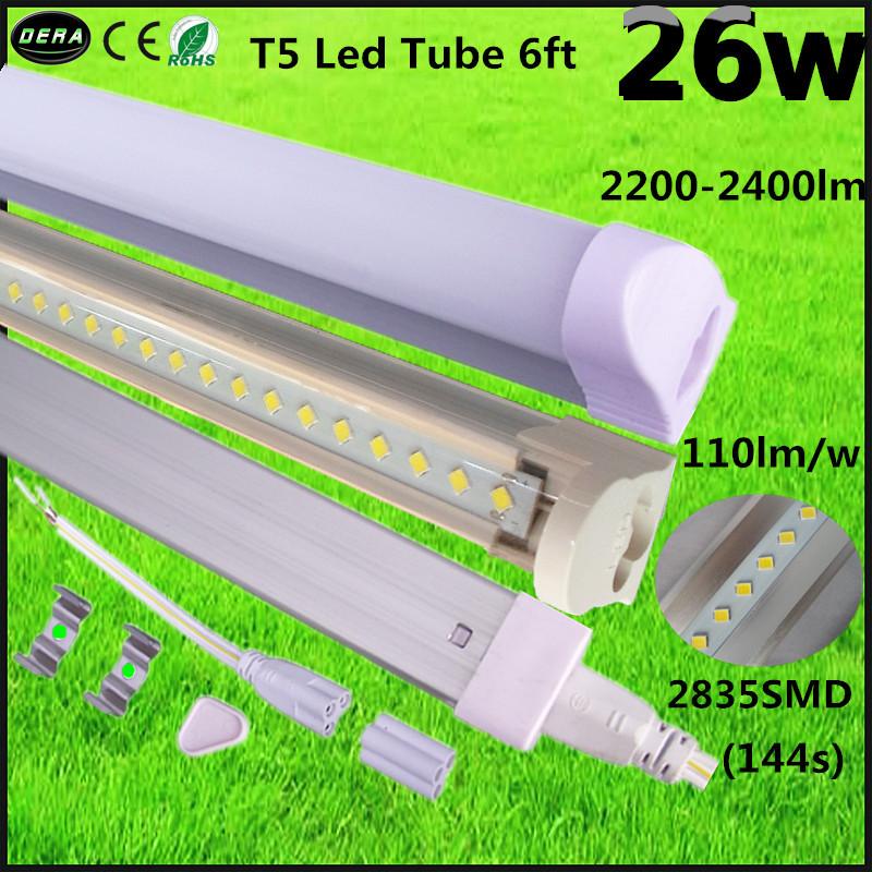 Free shipping 50pcs/lot led fluorescent tueb t5 light 26w 1800mm led tube 1.8m 2200-2400lm CE&ROHS 2 years warranty hot sale(China (Mainland))